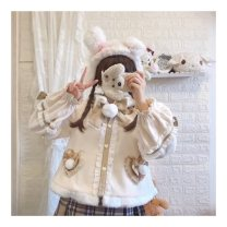 short coat Winter 2020 S,L Off white Long sleeves routine Plush singleton  easy Sweet routine Single breasted Cartoon animation 31% (inclusive) - 50% (inclusive) Bow tie, wool collar, printing cotton cotton