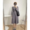 Dress Spring 2021 Grey, black, khaki Average size Mid length dress singleton  Long sleeves commute Korean version 51% (inclusive) - 70% (inclusive) polyester fiber