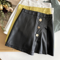 skirt Winter 2020 S,M,L,XL White, black, yellow, milky white, yellow stain, milky white stain, white stain Short skirt Versatile High waist A-line skirt Solid color 31% (inclusive) - 50% (inclusive) PU