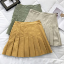 skirt Summer 2020 S,M,L Apricot, yellow, green, green hole Short skirt Versatile Pleated skirt Solid color 51% (inclusive) - 70% (inclusive) PU
