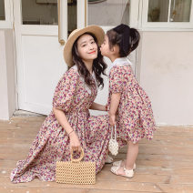 Parent child fashion Pink flowers Women's dress female Dress summer leisure time Thin money Broken flowers skirt M, S Other 100% Class B 18 months, 2 years old, 3 years old, 4 years old, 5 years old, 6 years old, 7 years old, 8 years old, 9 years old, 10 years old Chinese Mainland