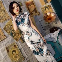 cheongsam Summer 2021 S,M,L,XL,XXL,XXXL,4XL Short sleeve long cheongsam Retro High slit daily Oblique lapel Decor 25-35 years old Piping silk 81% (inclusive) - 90% (inclusive)