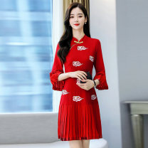 Dress / evening wear Weddings, adulthood parties, company annual meetings, daily appointments S M L XL XXL Red, black, white Retro Medium length middle-waisted Summer 2021 A-line skirt stand collar zipper MJQY21X-0317-07 Short sleeve Embroidery Solid color Meng Jia Xian Yi routine Polyester 100%