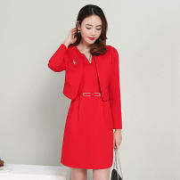 Dress / evening wear Weddings, adulthood parties, company annual meetings, daily appointments M L XL XXL Red Black Red + black and white + Black Korean version Middle-skirt middle-waisted Spring 2021 A-line skirt MJQY21X-0311-01 Long sleeves Solid color Meng Jia Xian Yi routine Polyester 100%