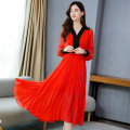 Dress / evening wear Weddings, adulthood parties, company annual meetings, daily appointments S M L XL XXL Red yellow blue black Korean version longuette middle-waisted Autumn 2020 Self cultivation MJQY20X-0801-09 Long sleeves Solid color Meng Jia Xian Yi routine Polyester 100%
