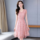 Dress Summer 2020 Beige Pink M L XL XXL XXXL Mid length dress singleton  Short sleeve commute Crew neck middle-waisted Dot A-line skirt routine Others 25-29 years old Type A Meng Jia Xian Yi lady Pleated zipper MJQY20X-0603-04 More than 95% Chiffon polyester fiber Polyester 100%