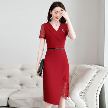 Dress / evening wear Weddings, adulthood parties, company annual meetings, daily appointments M L XL XXL XXXL Red yellow Zhangqing light blue Intellectuality Medium length middle-waisted Summer 2020 princess Deep collar V Bandage 26-35 years old MJQY20X-0616-02 Solid color Meng Jia Xian Yi routine