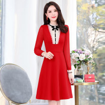 Dress / evening wear Weddings, adulthood parties, company annual meetings, daily appointments M L XL XXL XXXL Red and blue Sweet Medium length middle-waisted Spring 2021 A-line skirt U-neck zipper 18-25 years old MJQY21X-0113-12 Long sleeves Solid color Meng Jia Xian Yi routine Polyester 100%