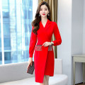 Dress / evening wear Weddings, adulthood parties, company annual meetings, daily appointments M L XL XXL Black red Korean version Medium length middle-waisted Autumn 2020 Self cultivation MJQY20X - 0826 - 05 Long sleeves Solid color Meng Jia Xian Yi routine Polyester 100%