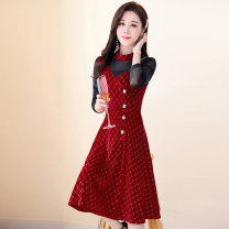 Dress / evening wear Weddings, adulthood parties, company annual meetings, daily appointments M L XL XXL XXXL Red and black Korean version Medium length middle-waisted Autumn 2020 A-line skirt U-neck Hollowing out 26-35 years old MJQY20X-0725-09 Long sleeves Solid color Meng Jia Xian Yi routine