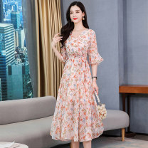 Dress Summer 2020 Blue flower and orange flower M L XL XXL Mid length dress singleton  Short sleeve commute V-neck middle-waisted Broken flowers Socket A-line skirt Lotus leaf sleeve Others 25-29 years old Type X Meng Jia Xian Yi lady Pleated lace up zipper print MJQY20X-0418-10 More than 95% Chiffon