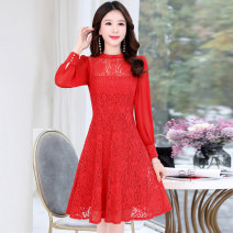 Dress / evening wear Weddings, adulthood parties, company annual meetings, daily appointments M L XL XXL Red black yellow Korean version longuette middle-waisted Spring 2020 A-line skirt U-neck zipper 18-25 years old MJQY20CM201 Long sleeves Embroidery Solid color Meng Jia Xian Yi routine