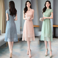 Dress / evening wear Weddings, adulthood parties, company annual meetings, daily appointments M L XL XXL XXXL Bean green blue pink Intellectuality Medium length middle-waisted Summer 2020 A-line skirt U-neck zipper 26-35 years old MJQY20XJ2003 Short sleeve Solid color Meng Jia Xian Yi routine