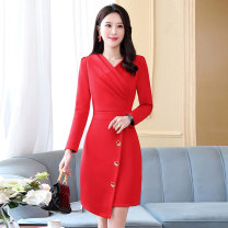 Dress / evening wear Weddings, adulthood parties, company annual meetings, daily appointments M L XL XXL Black big red peacock blue grace Medium length middle-waisted Winter 2020 Short buttocks MJQY20X-1028-10 Long sleeves Solid color Meng Jia Xian Yi routine Polyester 100%