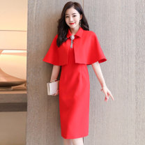 Dress / evening wear Weddings, adulthood parties, company annual meetings, daily appointments M L XL XXL Black, blue, scarlet Korean version Medium length middle-waisted Autumn 2020 Self cultivation MJQY20X-0812-03 elbow sleeve Solid color Meng Jia Xian Yi routine Polyester 100%