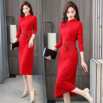 Dress / evening wear Weddings, adulthood parties, company annual meetings, daily appointments M L XL XXL Black red green fashion Medium length middle-waisted Spring 2021 A-line skirt U-neck Bandage MJQY21X-0112-04 Long sleeves Solid color Meng Jia Xian Yi routine Polyester 100%