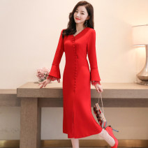 Dress / evening wear Weddings, adulthood parties, company annual meetings, daily appointments M L XL XXL Big red black Simplicity longuette middle-waisted Spring 2020 fish tail Deep collar V zipper 26-35 years old Long sleeves Solid color Meng Jia Xian Yi pagoda sleeve Polyester 100%