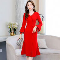 Dress / evening wear Weddings, adulthood parties, company annual meetings, daily appointments M L XL XXL Red and black Korean version Medium length middle-waisted Spring 2021 Self cultivation MJQY21X-0302-02 Long sleeves Solid color Meng Jia Xian Yi routine Polyester 100%