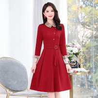 Dress / evening wear Weddings, adulthood parties, company annual meetings, daily appointments M L XL XXL XXXL Red and blue fashion Medium length middle-waisted Spring 2021 A-line skirt Bandage MJQY21X-0113-09 three quarter sleeve Solid color Meng Jia Xian Yi routine Polyester 100%