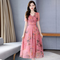 Dress Summer 2020 Pink grey M L XL XXL XXXL Mid length dress singleton  Short sleeve commute V-neck middle-waisted Decor Socket A-line skirt routine Others 30-34 years old Type A Meng Jia Xian Yi lady Pleated zipper printing More than 95% Chiffon polyester fiber Polyester 100%