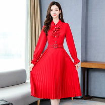 Dress / evening wear Weddings, adulthood parties, company annual meetings, daily appointments S M L XL XXL Red and black Korean version Medium length middle-waisted Autumn 2020 A-line skirt U-neck 18-25 years old MJQY20X-0801-05 Long sleeves Solid color Meng Jia Xian Yi routine Polyester 100%