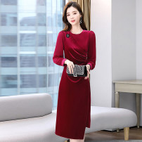 Dress / evening wear Weddings, adulthood parties, company annual meetings, daily appointments M L XL XXL XXXL Black red fashion Medium length middle-waisted Winter 2020 A-line skirt square neck zipper 36 and above MJQY20X-1226-04 Long sleeves Solid color Meng Jia Xian Yi routine Polyester 100%
