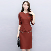 Dress / evening wear Weddings, adulthood parties, company annual meetings, daily appointments M L XL XXL XXXL Army green jujube Navy Korean version Medium length middle-waisted Autumn 2020 Short buttocks MJQY20X-0905-02 Long sleeves Solid color Meng Jia Xian Yi routine Polyester 100%