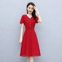 Dress / evening wear Weddings, adulthood parties, company annual meetings, daily appointments M L XL XXL XXXL fashion Medium length middle-waisted Summer 2021 A-line skirt U-neck zipper Short sleeve Solid color Meng Jia Xian Yi routine Polyester 100% Pure e-commerce (online only)