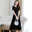 Dress Summer 2020 White black M L XL XXL XXXL Mid length dress singleton  Short sleeve Sweet Crew neck Elastic waist Solid color Socket A-line skirt routine Others 25-29 years old Type A Meng Jia Xian Yi Pleated pleated zipper MJQY20X-0425-02 More than 95% Chiffon polyester fiber Polyester 100%
