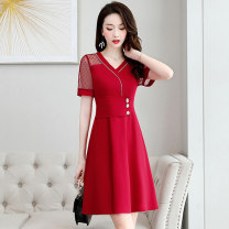 Dress / evening wear Weddings, adulthood parties, company annual meetings, daily appointments M L XL XXL XXXL Red yellow Zhangqing Korean version Medium length middle-waisted Summer 2020 A-line skirt Deep collar V zipper 26-35 years old MJQY20X-0616-01 Short sleeve Solid color Meng Jia Xian Yi