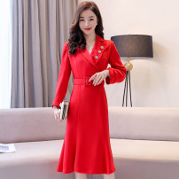 Dress / evening wear Weddings, adulthood parties, company annual meetings, daily appointments M L XL XXL Big red black Korean version Medium length middle-waisted Spring 2020 fish tail Deep collar V Bandage 26-35 years old MJQY20CH8116 Long sleeves Nail bead Solid color Meng Jia Xian Yi routine Pearl