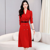 Dress / evening wear Weddings, adulthood parties, company annual meetings, daily appointments M L XL XXL Red and black Korean version Medium length middle-waisted Autumn 2020 Self cultivation MJQY20X-0813-11 Long sleeves Solid color Meng Jia Xian Yi routine Polyester 100%