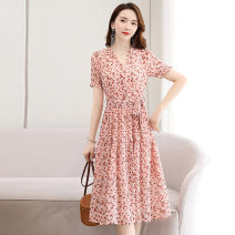 Dress Summer 2020 Yellow flowers, green flowers, pink flowers, black flowers and black flowers. M L XL XXL Mid length dress singleton  Short sleeve commute V-neck middle-waisted Decor Socket A-line skirt routine Others 25-29 years old Type A Meng Jia Xian Yi lady Pleated lace up printing Chiffon