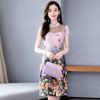 Dress Summer 2020 Pink Blue bean green M L XL XXL XXXL Mid length dress singleton  Short sleeve commute stand collar middle-waisted Decor A-line skirt routine Others 25-29 years old Type A Meng Jia Xian Yi Retro Zipper printing MJQY20X-0603-05 More than 95% Chiffon polyester fiber Polyester 100%
