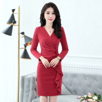Dress / evening wear Weddings, adulthood parties, company annual meetings, daily appointments M L XL XXL Navy Caramel red Korean version Medium length middle-waisted Spring 2021 Self cultivation MJQY1825 Long sleeves Solid color Meng Jia Xian Yi routine Polyester 100% Pure e-commerce (online only)