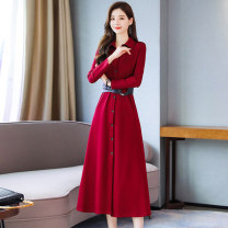 Dress / evening wear Weddings, adulthood parties, company annual meetings, daily appointments S M L XL XXL XXXL Black jujube Korean version Medium length middle-waisted Autumn 2020 A-line skirt Long sleeves Solid color Meng Jia Xian Yi routine Polyester 100% Pure e-commerce (online only)