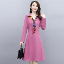 Dress Autumn 2020 M L XL XXL XXXL Mid length dress singleton  Long sleeves commute V-neck middle-waisted Solid color zipper A-line skirt routine 35-39 years old Meng Jia Xian Yi Korean version Three dimensional decoration More than 95% polyester fiber Polyester 100% Pure e-commerce (online only)