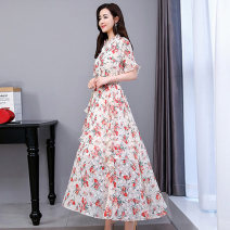 Dress Summer 2021 Safflower and black flower M L XL XXL Mid length dress singleton  Short sleeve commute Lotus leaf collar middle-waisted Decor Socket Big swing routine Others 25-29 years old Type A Meng Jia Xian Yi lady Pleated printing MJQY21X-0319-13 More than 95% Chiffon polyester fiber