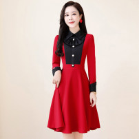 Dress / evening wear Weddings, adulthood parties, company annual meetings, daily appointments M L XL XXL XXXL Black, red, purple Sweet Medium length middle-waisted Autumn 2020 A-line skirt zipper 18-25 years old MJQY20X-0824-07 Long sleeves Solid color Meng Jia Xian Yi routine Polyester 100%
