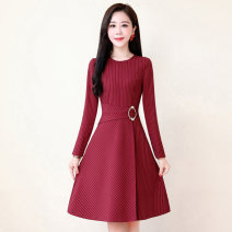 Dress / evening wear Weddings, adulthood parties, company annual meetings, daily appointments M L XL XXL XXXL Black green jujube fashion Medium length middle-waisted Autumn 2020 A-line skirt U-neck zipper 26-35 years old MJQY20X-0825-04 Long sleeves stripe Meng Jia Xian Yi routine Polyester 100%