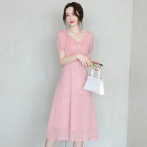 Dress Summer 2021 Blue Pink Beige M L XL XXL Mid length dress singleton  Short sleeve commute V-neck middle-waisted Solid color Socket A-line skirt routine 25-29 years old Type X Meng Jia Xian Yi lady Pleated fold MJQY21X-0319-03 More than 95% Chiffon polyester fiber Polyester 100%