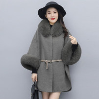 woolen coat Winter 2020 M L XL XXL Khaki grey polyester 95% and above Medium length three quarter sleeve commute Single breasted Bat sleeve Solid color Cape type Britain MJQY20X-1107-04 Meng Jia Xian Yi Pleated lace Solid color polyester fiber Imitation fabric Polyester 100%
