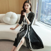 Dress / evening wear Weddings, adulthood parties, company annual meetings, daily appointments M L XL XXL black grace Medium length middle-waisted Spring 2020 A-line skirt U-neck Hollowing out 26-35 years old MJQY20CA2091 three quarter sleeve Embroidery Solid color Meng Jia Xian Yi routine