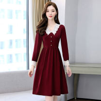 Dress / evening wear Weddings, adulthood parties, company annual meetings, daily appointments M L XL XXL Jujube, royal blue and dark green fashion Medium length middle-waisted Spring 2021 Self cultivation Deep collar V zipper 26-35 years old MJQY21X-0311-13 Long sleeves Solid color Meng Jia Xian Yi