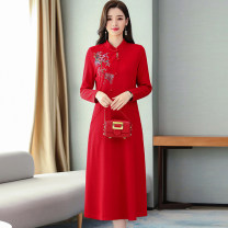 Dress / evening wear Weddings, adulthood parties, company annual meetings, daily appointments M L XL XXL Black scarlet Korean version longuette High waist Spring 2020 A-line skirt 36 and above MJQY19D961 Long sleeves Solid color Meng Jia Xian Yi routine Polyester 100% Pure e-commerce (online only)