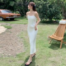 Dress Summer 2020 White, gold, black S,M,L longuette singleton  Sleeveless commute One word collar middle-waisted Solid color Socket Pleated skirt camisole 25-29 years old Type H Simplicity HD1011 81% (inclusive) - 90% (inclusive)