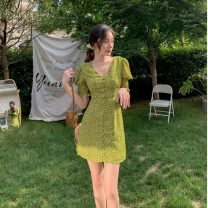 Dress Summer 2020 green S,M,L,XL Short skirt singleton  Short sleeve commute V-neck High waist Decor Single breasted A-line skirt puff sleeve Others 18-24 years old Type A Korean version Button, print, pleat HD246 31% (inclusive) - 50% (inclusive) other other