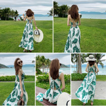 Dress Summer of 2019 S,M,L,XL longuette singleton  Sleeveless Sweet V-neck High waist Decor Socket A-line skirt other camisole 25-29 years old Type A Lace up, printed 81% (inclusive) - 90% (inclusive) Chiffon Cellulose acetate Bohemia