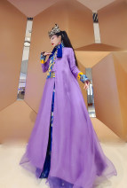 Dress Summer 2020 the purple air comes from the east -- a propitious omen S. M, l, XL, special size (contact customer service for customization) longuette singleton  Long sleeves commute stand collar A button Type A WASJULIET Retro Fl00754 Purple / fl00729 orange
