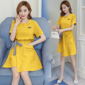 Nursing clothes Yellow, pink M,L,XL,2XL Socket summer Short sleeve Medium length lady Dress Solid color